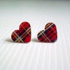 Tartan Heart Earrings!