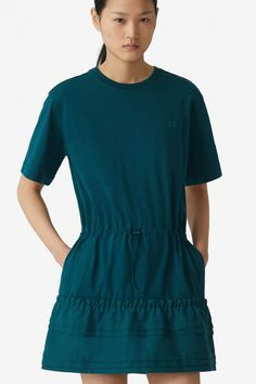 Kenzo Damen Sweatkleid Flare Tee Dress Petrol | SAILERstyle Kenzo, Flare, Fit, High Neck Dress, Casual, Dresses, Fashion, Fashion Styles, Cotton