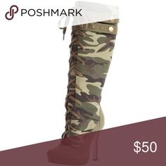Sergeant Camouflage 4 1/2 inch High Heel Boots These Sergeant Camouflage Boots for women by Leg Avenue are a sight to behold. The green and black camo pattern design and pink shoe bottoms is sassy and sexy. The lace-up front knee high boot is 90% canvas fabric, 5% metal and 5% other material. The 4 1/2 inch high heel makes for a dramatic statement in its own right. ***GOES PERFECT WITH SERGEANT HALLOWEEN COSTUME but can also be worn with skinny jeans and a cute top. Bundle with costume to…
