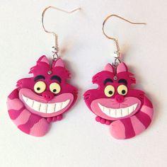 Alice in Wonderland jewelry, Cheshire Cat Earrings, Pink Stripes, Pink Cat, Cat Earrings, Polymer Clay Earrings, Disney Earrings, Gift Idea