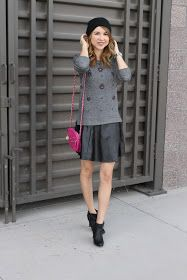 Leather skirt outfit , simply Sutter blog