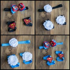 This Superman Inspired Interchangeable Barefoot Baby Sandals Set is perfect for the littlest Superhero fans!  This set includes 2 sets of