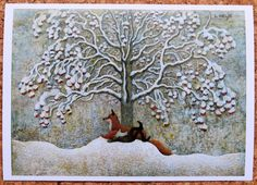 HELJE ArtPostCard GNOME and FOX relaxing Tomte Nisse Santa Sweden  FREE SHIPPING