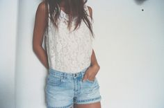 Love the washed out jeans with the fancy top