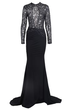 Honey Couture Black w Gold Mesh Sequin Formal Gown Dress