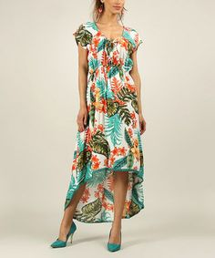 Orange Tropical Keyhole Hi-Low Dress
