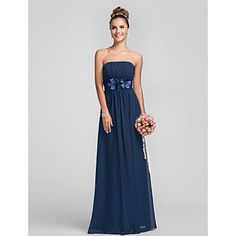 Empire Strapless Floor-length Chiffon Over Satin Bridesmaid Dress With Flower(s) – GBP £ 66.02