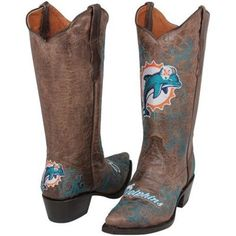 Miami Dolphins Womens Embroidered Cowboy Boots - Brown