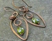 Antiqued Copper Leaf Earrings Olivine CZ, Hand Forged, Wire Wrapped Dangles