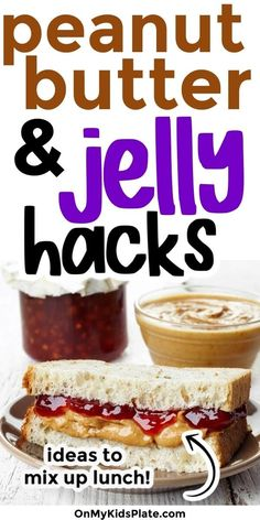 These Peanut Butter Jelly lunch hacks are just what you need to remix your sandwich. Fun lunch ideas that kids will love at home, and great ideas for picky kids too. Fast easy at home lunches for the win! You can also try any of these ideas with sunflower seed butter for a school safe alternative for lunchboxes.