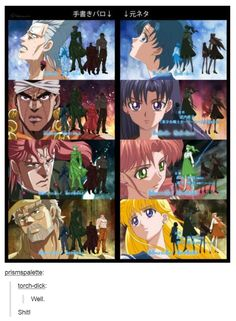 sailor moon jojo's bizarre adventure for the most part Sailor Moon Crystal they match up too Jojo's Bizarre Adventure Anime, Jojo Bizzare Adventure, Anime Manga, Anime Art, Jojo Parts, Jojo Anime, Manhwa, Jojo Memes, Anime Crossover