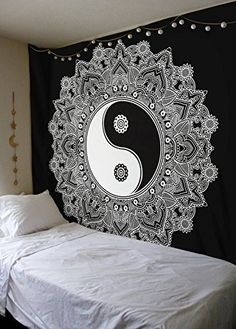 Black And White Tapestry, YinYang Wall Hanging Tapestry, Mandala Tapestries, Indian Traditional Cotton Printed Bohemian Hippie Large Wall Art by SheetKart
