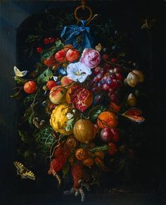 I love Dutch still life.  The dark background, the light on the flowers and fruit, the color. All gorgeous.