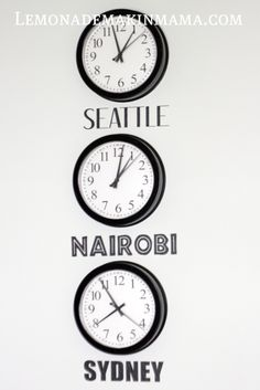 """neat idea for deployed families.. you can have two clocks, one with """"our"""" time & one with """"Daddies"""" time.."""