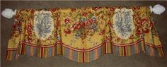 Scalloped VALANCE French Country Waverly Red Gold Toile Stripe Fabric