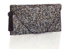 Couture Handbags Bags Pee Size Black Swarovski Crystals Envelope Charcoal Purses Envelopes