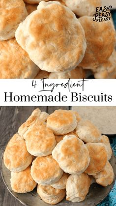 Easy Homemade Biscuits Using only 4 Ingredients is the perfect recipe for breakfast lunch or dinner. meals for husband Homemade Biscuits Using Only 4 Ingredients - Easy Peasy Pleasy Homemade Biscuits Recipe, Easy Homemade Recipes, Easy Biscuits, Healthy Biscuits, Recipes For Biscuits, Keto Biscuits, Easy Baking Recipes, Homemade Breads, Oven Recipes