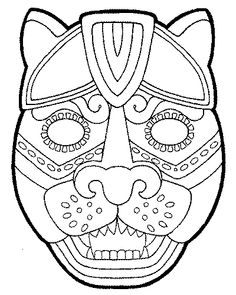 mayan masks colouring pages