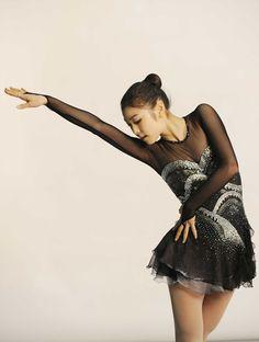 figure skater Yuna Kim -Black Figure Skating / Ice Skating dress inspiration for Sk8 Gr8 Designs.