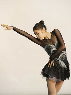 figure skater Yuna Kim -Black Figure Skating / Ice Skating dress inspiration for Sk8 Gr8 Designs.
