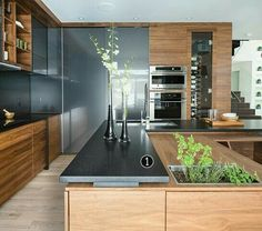 Wood and gray kitchen