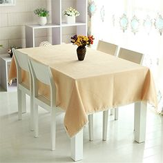 SNW Fashion Pastoral Style Solid Color Polyester Tablecloth Rectangle  Tablecloth Exquisite Lace Edge Shopping New World