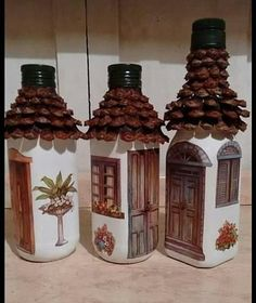 Pin on Concrete Vases Recycled Glass Bottles, Glass Bottle Crafts, Wine Bottle Art, Diy Bottle, Plastic Bottles, Tile Crafts, Cork Crafts, Diy Home Crafts, Craft Stick Crafts