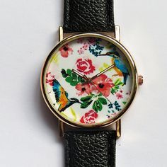 Hummingbird and Tropical Floral Watch Vintage Style by FreeForme