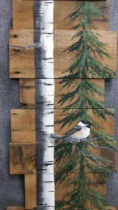White Birch & Pine tree Reclaimed Wood Pallet Art, TALL Hand painted White Birch Chickadee bird, upcycled, Wall art, Distressed Original Acrylic painting on reclaimed Pallet boards. This unique piece is 46 tall x 9-12 wide Perfect for that skinny wall space. All of my creations are made of reclaimed boards. They are hand painted and are made after they are ordered. Although I try to duplicate original as closely as possible, there may be slight variations because no two boards are…