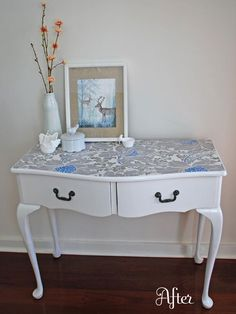 Wallpapered dressing table. I looked around and while wallpaper is soooo expensive, cute wrapping paper could be used with decoupage glue to create the same effect!  http://www.paper-source.com/cgi-bin/paper/giftwrap/PS-wrapping-paper.html