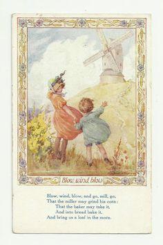 MARGARET TARRANT NURSERY RHYME CARD BLOW WIND BLOW 1933
