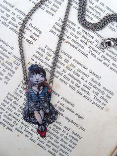 Swing away, shrink plastic necklace, original artwork (FREE WORLDWIDE SHIPPING). €23.00, via Etsy.