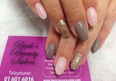 #PANDORAvalentinescontest Pink Grey gold sparkle round tip gel nails