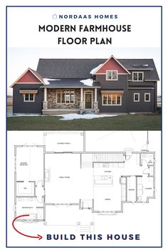 Beautiful two story modern farmhouse floor plan designed and built by Nordaas Homes, a full-service custom home builder in Minnesota. We have a variety of house plans--from single story, two story, small homes and more...all tried, tested & actually built, so you know you'll love them. #nordaashomes #modernfarmhouse