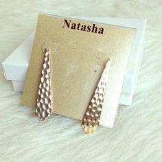 LISTING Gold Dangle Earrings These Natasha earrings are gold and very lightweight. Natasha Jewelry Earrings