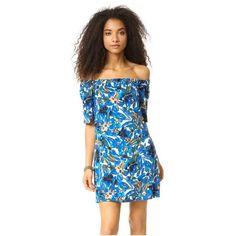 Ella Moss Tahiti Garden Mini Dress (275 AUD) ❤ liked on Polyvore featuring dresses, caribbean, blue floral dress, off the shoulder short dress, short blue dresses, mini dress and blue off the shoulder dress