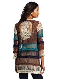 Willow & Clay Women's Crochet Cardigan, Teal, Medium