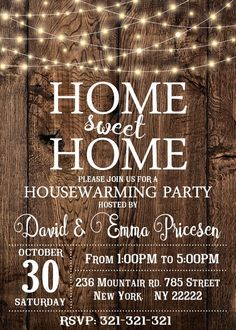 House Warming Invitation, House Warming Party Invite, Home Sweet Home, Wood New Home Invitation 1028 House Warming Invitation House Warming Party Invite Home Wild One Birthday Party, First Birthday Parties, House Warming Party Invites, Home Warming Party Ideas, Disco Party Decorations, Housewarming Party Invitations, Sweet Home, Into The Woods, Home Wedding