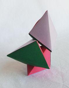Casse tête Magnet Petit format en Origami: Les Tétraèdres magnétiques, lavande, citron vert, framboise