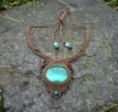 Malachite macrame necklace. $110.00, via Etsy.