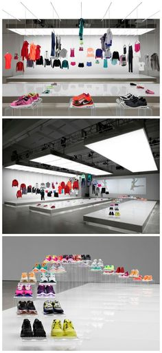 shoes clothes showroom glass white display lighting ayakkabı kıyafet beyaz cam ışık sergi