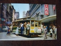 USA San Francisco Cable Car on Turntable vintage unused Piggott colour postcard