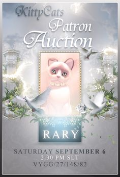 #KittyCatS patron auction Sep 6 2:30 PM SLT at Vygg maps.secondlife.com/secondlife/vygg/27/148/82 #SecondLife