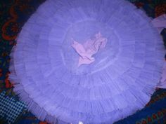 2 : Underskirt of tutu. All layers are made of gathered net and are sewn onto the same tutu plate. When worn the tutu has a slight umbrella or bell shape depending on diameter of the hoop inserted. As frills are sewn onto the same plate the tutu is no so scratchy.