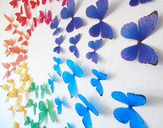 3D Rainbow Wall Butteflies Set of 70 by HeidisHubbub on Etsy