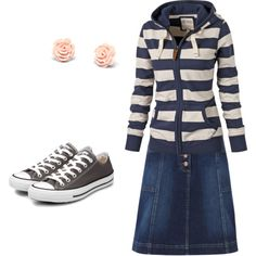 Cute & sporty Modest School Outfit  ~This is perfect for school...Are those hair pins on earrings?