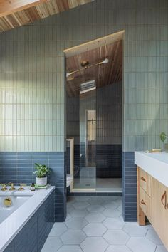 Max Humphrey does it again. Always creating beautiful spaces. This house is featured in the new issue of @ruemagazine and looks even better in PRINT so put down your phone and grab a copy. Max Humphrey Photo by @dibblephoto Architecture @beebeskidmore Builder @twoboysandacricut Floor Tile ARTObrick #bathroomdesign #bathroomgoals #tiledesign #bathroomtiles #hexagontiles Interior Styling, Interior Design, Bathroom Goals, Bathroom Renos, Bathrooms, Room Tiles, Ceiling Tiles, Interior Photography, Beautiful Space