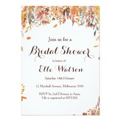 Autumn Fall Floral Chic Bridal Shower Invitation - bridal shower gifts ideas wedding bride
