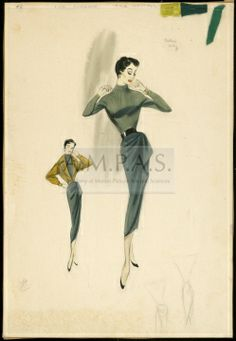 "two variations of a costume to be worn by Cyd Charisse. The central image depicts a full-length image of Charisse wearing a green skirt and turtleneck with a black belt. Along the left side is a sketch that shows the same costume worn with a yellow jacket. In the lower right corner are two very rough sketches.  1955 CYD CHARISSE ""FAIR WEATHER"""