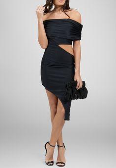 Vestido midi irregular com recortes na lateral preto Maddie - powerlook